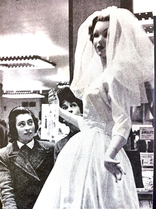 Mannequin in wedding dress, English department store, 1950s