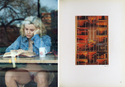 fette:  Left, photograph by Emma Arvida Bystrom, from the series There Will Be Blood, for Vice Magazine, May 2012. Via. Right, scan of a page from the book Kodachrome, by Luigi Ghirri,  published by Punto e Virgola, 1978. Via. More spreads here. — In Arab popular traditions, there's a belief that if a manuscript were to be submerged in water and its ink were to dissolve, drinking the water would transform the knowledge contained in that manuscript into the body of the drinker and become part of the body's system. Anton Shammas, The Drowned Library. Via.