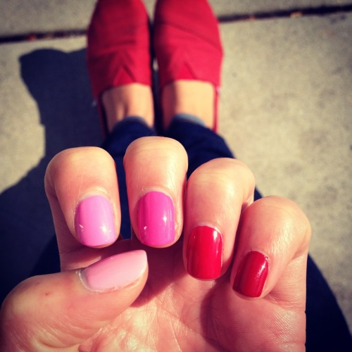 Ombre Nails from pink to red.  OPI - Pinking of YouEssie - ChastityOPI - Shorts StoryEssie - Rose BowlEssie - Forever Young