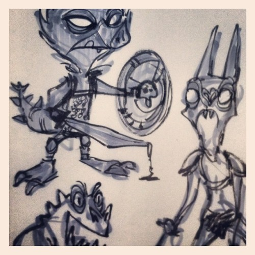 Drawin some weird little creatures. (Taken with instagram)
