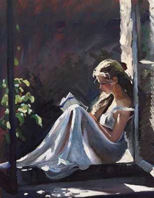 "booksdirect:  ""Serenity"" - painting of a woman reading by Sherree Valentine Daines."
