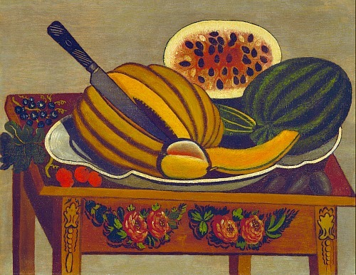 stilllifequickheart:  Unknown (American) Still Life with Melons 1830
