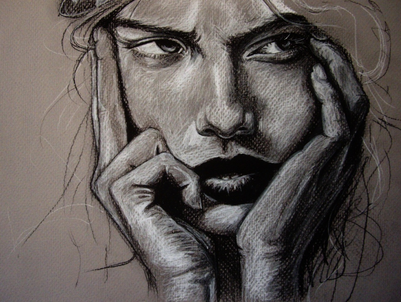 """The Glutton""  Charcoal on gray scale paper. See me make it here: http://www.youtube.com/watch?v=RwAK2wcTqmc www.olganoes.com www.facebook.com/olganoes Click image for prints, t-shirts & more!!!"