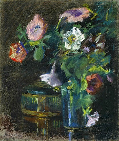 John La Farge Still Life of Petunias in a Glass Vase 1884