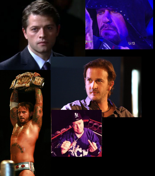 These are the men that inspire me! From left to right: Misha Collins, The Undertaker, CM Punk, Richard Speight Jr. and Kevin Gill.  Men who inspire me in my life, 'cause of their personalities, for the good things they do, for the way they work and the way they overcome problems in life, and for their kindness.  ——————————————————- Hombres que me inspiran en mi vida, por sus personalidades, por el bien que hacen, por su forma de trabajar y superar obstáculos, y por su bondad y amabilidad.