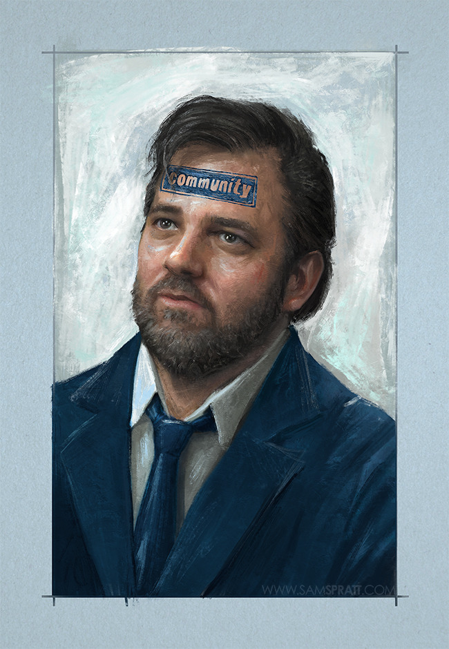 """Dan Harmon is Community"" -Portrait Illustration by Sam Spratt A quick tribute to Community's lost showrunner. Brilliant mind. Can't wait to see what he makes next."