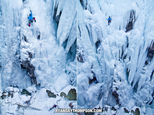 David Appelhans on a late afternoon burn in the Ouray Ice Park.  Photos © Ryan Day Thompson, 2012