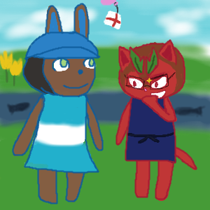 another oekaki thing! Chaletica and Derana as animal crossing characters, quick-ish drawing
