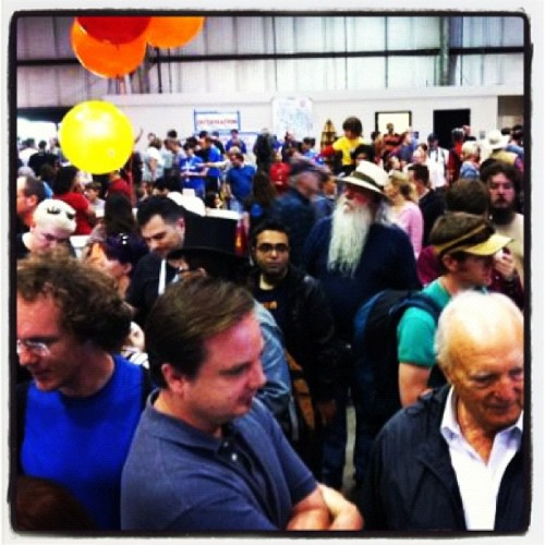 Crowds at shapeways booth at makerfaire  (Taken with instagram)