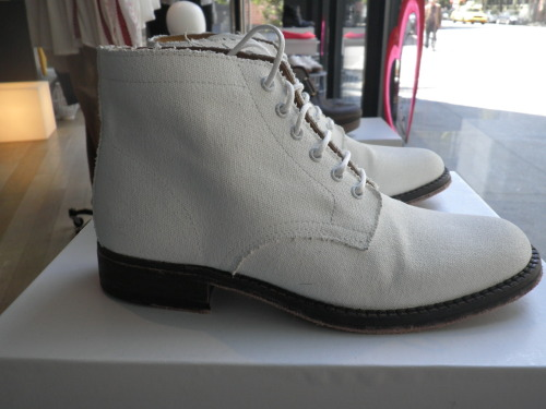@AHMEENYC ALL WHITE CANVAS PAINTED BOOTS