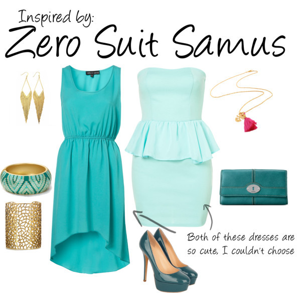 Zero Suit Samus (Metroid) by ladysnip3r featuring zigzag jewelry This outfit is inspired by Zero Suit Samus. I couldn't decide which dress to pick since they both are so cute and so perfect in their own ways. I chose a light and dark turquoise palette to mimic her outfit and a splash of hot pink the necklace for the contrast. (Reference Image) Waist dress, $76Chiffon dress, £100FOSSIL leather clutch, $50Panacea wire jewelry, $22Aqua zigzag jewelry, $35Joanna Cave gold necklace, £78
