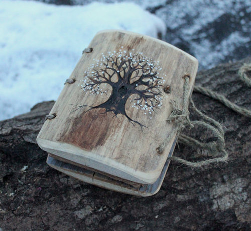 morgondagg:  Coptic stich rustic wood journal 5 1/2 x 4 Tree of by crearting