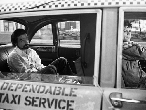 Martin Scorsese and Robert De Niro on the set of Taxi Driver