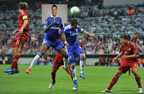 surrealfootball:  Remember that time John Terry insisted on lifting the Champions League trophy and also wore a Chelsea kit when he didn't play in the final? Wearing kit so that when people look back on this it'll be as if he played. The man is insane. At home, John Terry will photoshop a photo of Didier Drogba's goal to make it look like he scored.