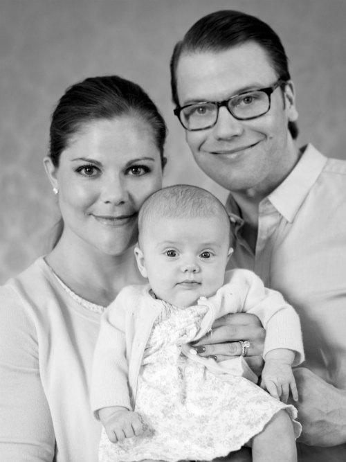 Princess Estelle Of Sweden (with her parents Crown Princess Victoria and Prince Daniel). I think she looks like her dad.