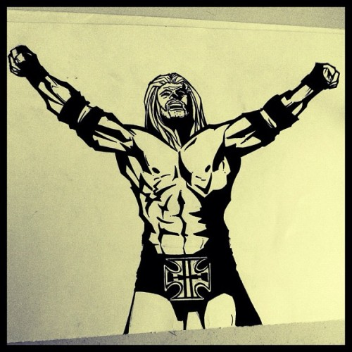 Triple H • Inks #sketch #dibujo #draw #drawing #illustration #illustrator #ilustración #hgsantarriaga  #art #artwork #artprocess #wip #process #pencils #boceto #trazo #tripleh #wwe #luchalibre #doodle #hhh