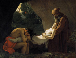 "Anne-Louis Girodet de Roucy-Triosson (1767-1824)The Entombment of AtalaOil on canvas1808267 x 207 cm(8' 9.12"" x 6' 9½"")Musee du Louvre (Paris, France)"