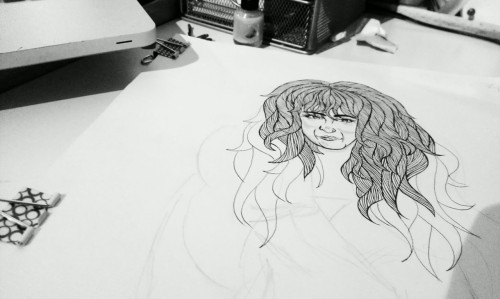 Start of an illustration of Donna summer for Amelias magazine: