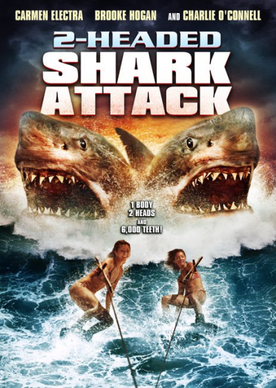 "2-Headed Shark Attack (2012)  This film opens up with a group of dudes in a boat and two girls water skiing, and right off the bat a giant two headed shark   Then we're introduced to a boat filled with college kids (Brooke Hogan included), their professor, and his wife (The one and only Carmen Electra).   When their boat gets hit by the two headed shark and the propellor gets fucked up they end up stranded… BUT! With luck (kinda) they are stranded not too far from an island. As the kids and professor head towards the island (his wife, two crew members, and a crew member that knows how to fix the ship) stay behind.   As they venture into the island they find old shacks, a chapel, and one of the students find a gun.   You can pretty much predict what happens in this, so I won't go into insane details. The two headed shark basically has a field day with  anything that goes into the water.   Acting: horrible isn't even close to how bad it was. Some of the lines are just laughable. Example: When in open water being surrounded by the shark someone yells ""RUN!""   Deaths: 15+ some funny as hell, some horrible, but they all look cheesy as fuck.   Nudity: some boobs, some kissing, that's pretty much where it ends.   The shark: probably the worst part, I get it, the fund isn't high and shit. But damn, the CGI looked horrible, the deaths were even CGI-ish, and when the shark was close it looked inflatable, and rubber (shark teeth shouldn't bend…)   Overall: plenty of babes in bikinis, lots of shark time, and enough blood to tickle you inside. Is it worth a watch? It is if you know what you're getting into. Don't expect something well thought out, or something executed well. If you like some sci-fi mutated monsters, by all means give this a go.   Movie: 3/10 rotting corpses  Laugh factor: 5/10  C. Vengeance"