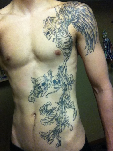 This is my first tattoo, it took 4 sessions, about 8 or 9 hours altogether. There is no symbolic meaning, i guess im just into demonic things. I think its a dope ass image lol. The tat was done by Kevin Hewitt, great tattoo artist, and really cool guy. His portfolio with not all but over 200 of his tattoos is shown on the link below. There's also more pictures of my tattoo on my facebook, showing each step. If you're ever in Syracuse go to origins in ink on route 11 for a tattoo ! http://www.facebook.com/jack.a.iv http://www.originsinink.com/