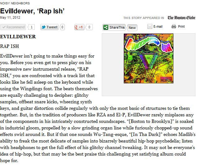 "Thanks to the folks at The Boston Globe for the Review of EvillDewer's Latest success ""R▲P \ ISH!"