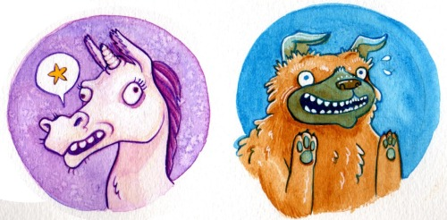 Two new button designs that I hope to have available at VanCAF next weekend. Be there or be a rectangular thing.