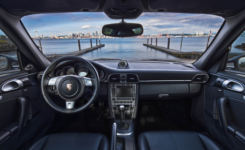 AutomotiveInterior shot of my dad's Porsche on Alki Beach.