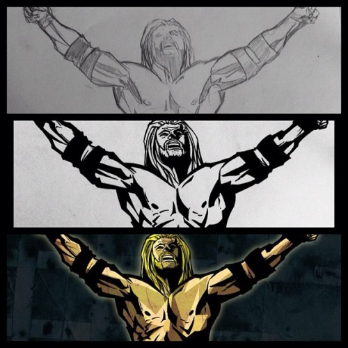 Triple H: from sketch to the final illustration #sketch #dibujo #draw #drawing #illustration #illustrator #ilustración #hgsantarriaga  #art #artwork #artprocess #wip #process #pencils #boceto #trazo #tripleh #wwe #luchalibre #doodle #hhh