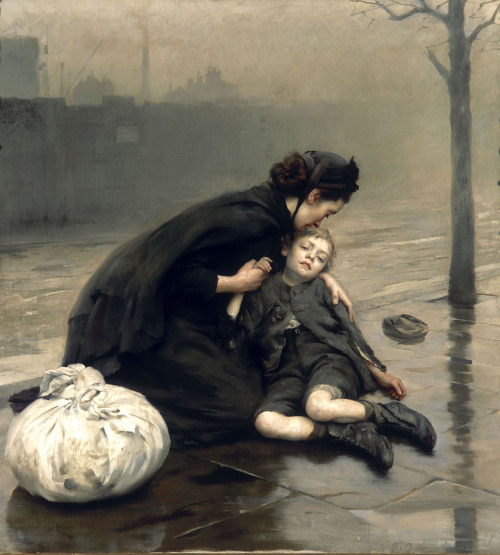 welovepaintings:   Thomas KenningtonGreat Britain 1856-1916Homeless 1890oil on canvas170.0 x 152.0 cm ___ Homeless, 1890, is one of a series of works in which Kennington depicts the plight of women and children who were impoverished or destitute. Subjects such as these gained popularity during the 1870s and 1880s, partly as a result of the increasing influence of illustrated journals, which regularly commisssioned artists to provide images of 'real' life. In Homeless, the square-brush technique used by Kennington in painting the wet pavement and the river, and his focus on subtle tonal variations rather than on colour - as in the soft grey light illuminating this scene - were among the characteristics adapted by British artists from French sources at the time. CultureVictoria