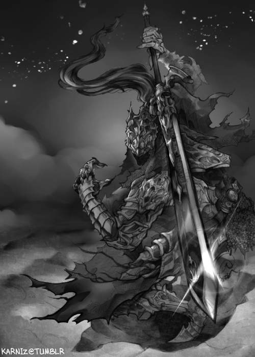 Dark Souls: Badass Artorias. This'll be available as a print [also, in color.] @ Anime Next 2012. Hopefully there will be other's who'll appreciate my Dark Souls love… mwahahhaa.