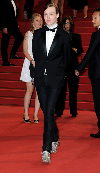 The Guardian website included this photo in its 'Cannes Day Four' set, with the caption: Caleb Landry Jones attends the The Sapphires premiere sporting a particularly sparkly pair of shoes