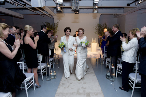 Christine Quinn and Kim Catullo newly married. Photo credit to William Alatriste.