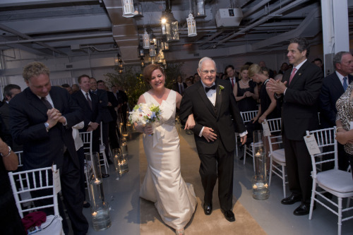 Gov. Andrew Cuomo on the right, next to Michael Bloomberg chrisandkimwedding:  Christine Quinn and father, Lawrence Quinn, walking down the aisle. Photo credit to William Alatriste.