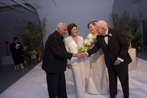 Christine Quinn and her father, Lawrence Quinn, and Kim Catullo and her father, Anthony Catullo. Photo credit to William Alatriste.