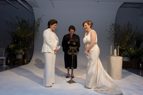 Christine Quinn and Kim Catullo at the altar before Judge Judith Kaye. Photo credit to William Alatriste.