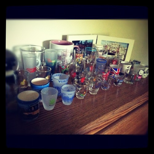 Shotglasses on shotglasses on shotglasses. Asia to Europe and everything in between.  (Taken with instagram)