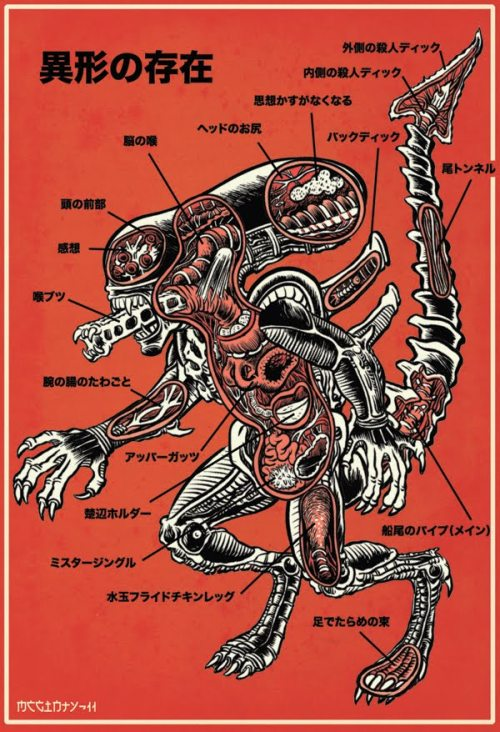 assorted-goodness:  An Anatomical Guide to the Xenomorph - by Brad McGinty Prints available here