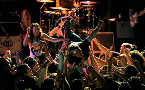 "Brian Fallon crowdsurfing during ""Baba O'Riley"" in LA."
