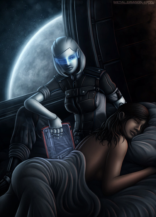 cannibaljambox:  talldarkbishoujo:  metal-dragon-kiryu:  Mass Effect 3 - 'Starlight' Finally got it finished! Huge thank you to everyone who's been liking/reblogging all the WIPs, and I hope it lives up to expectations :)  oh god someone ships this besides me I am so happy  First off, fucking gorgeous art, absolutely wonderful — the expressions in particular are just filling me with every warm excellent feeling right now. But also can I just… imagine forever from now on that EDI in 3 is wearing a uniform? Because that would be… that would be such the best. Okay headcanon successfully integrated yes thank you.