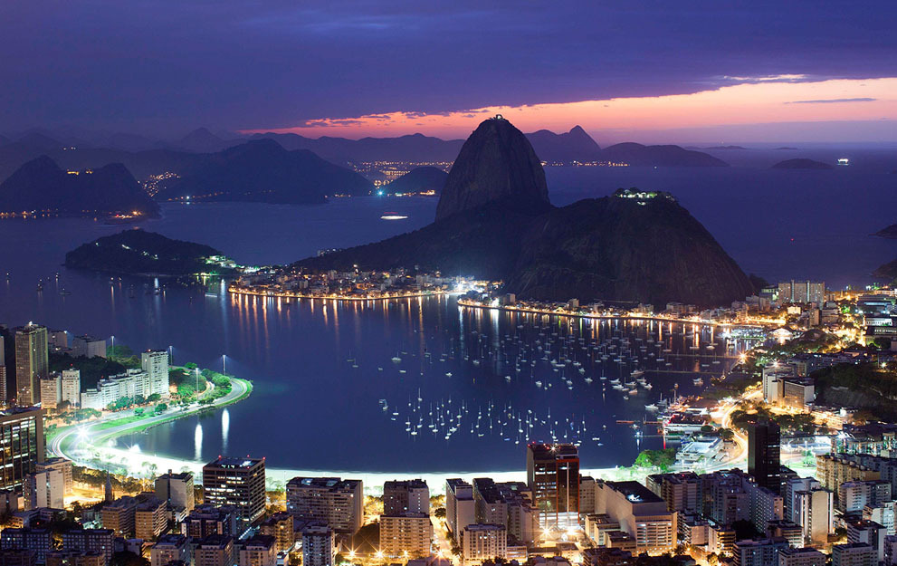 Sugarloaf mountain and Guanabara Bay, at dawn in Rio de Janeiro, Brazil, on August 5, 2011. (AP Photo/Felipe Dana)