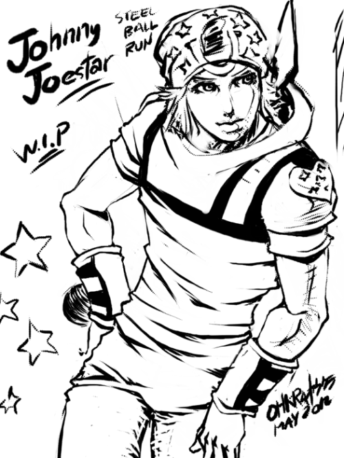 [UPDATED] [FANART] Johnny Joestar from JoJo's Bizarre Adventure Part 7: Steel Ball Run. So far he's my top favorite JoJo. I love the other JoJo's but I find Johnny the most unique. He's the only JoJo who started with `negative stats` (not to mention he's a paraplegic) then gradually evolved from a side kick to a badass Stand user with a badass, continuously evolving Stand, TUSK. I've been planning to create a fanart of him some time ago and here it is. Made some corrections. Little progress though. Still in WIP.