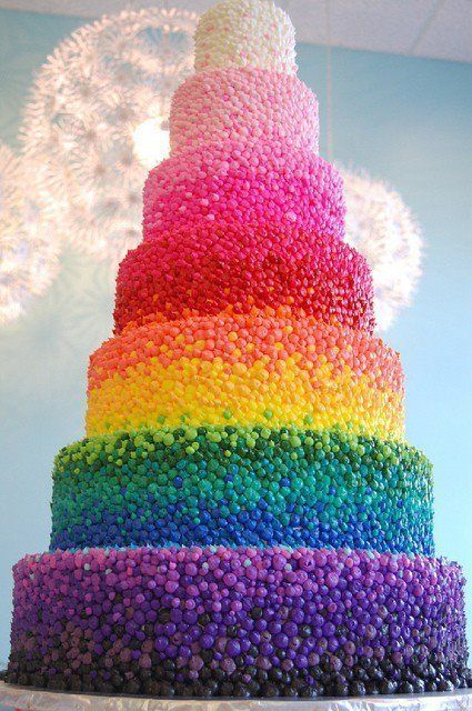 Beautiful 7 tiered rainbow cake.