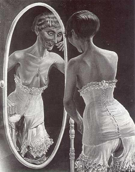 "heavy-metal-vegan:  Otto Dix, At the Mirror (1921) Otto Dix's portrait of a prostitute standing before a mirror and readying herself for a night's work was provoked obscenity charges, of which the artist was subsequently acquitted on a plea of ""verisimilitude"". However, the painting, unfortunately, vanished in the Nazi purge."