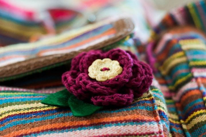 "Our Travel Log!  May 20, 2012.  Michigan, USA. ""This is the flower pin I made from your pattern! I am so in love with it, right now it's on my school bag. I just wanted to thank you for writing up the pattern for me! :)"" — Brittany Yay! A Spring Flower has sprouted in Michigan!  Thanks for sharing, Brittany! :D  . WIN a handmade, customized Spring Flower be participating on my Tumblr, or make your very own flower by checking out my FREE crochet pattern on Craftsy! :) <3 Josephine @ A Morning Cup of Jo Creations  (Facebook, Tumblr, Etsy, Craftsy)"
