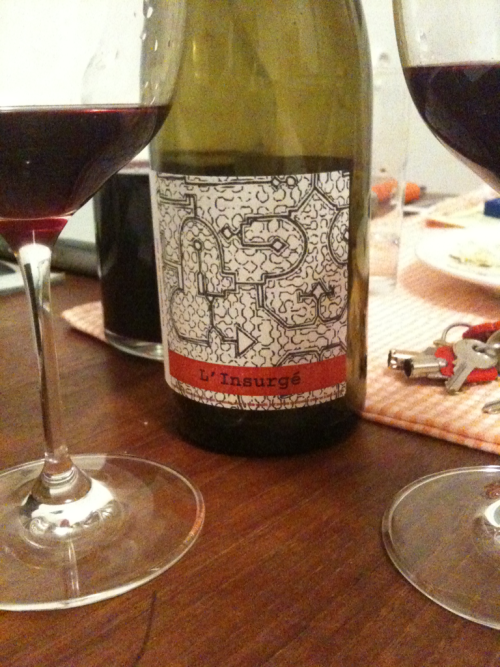 "2010 Jérémy Quastana Touraine L'Insurgé Having peanut allergies gave me a mild uneasiness as the nose and initial flavors of this wine have a peanut note to them. Mid palette this disappears and you are left with that funky crazy nose and some refreshing current soda flavors that don't hang around to long. Easy breezy summer red here if you can convince your friends that ""it's supposed to smell that way."""
