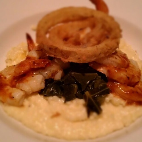 Who new collards and grits would be a good combo…  (Taken with instagram)