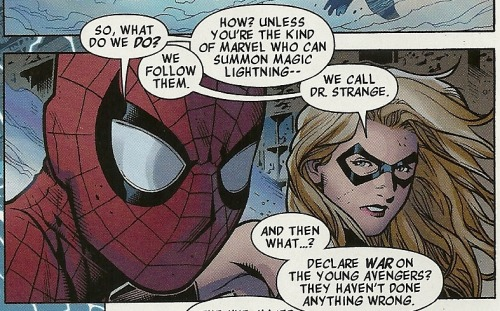 Shout out from Spidey and Ms. Marvel, made funnier by the fact that Carol will now be a Captain Marvel. grandbouken:  Well, damn.