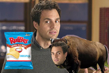 yupokay:  maxthecreator:  Mark Ruffalo looking at a bag of Ruffles with his pet buffalo, Mark Buffalo.   CHRIST