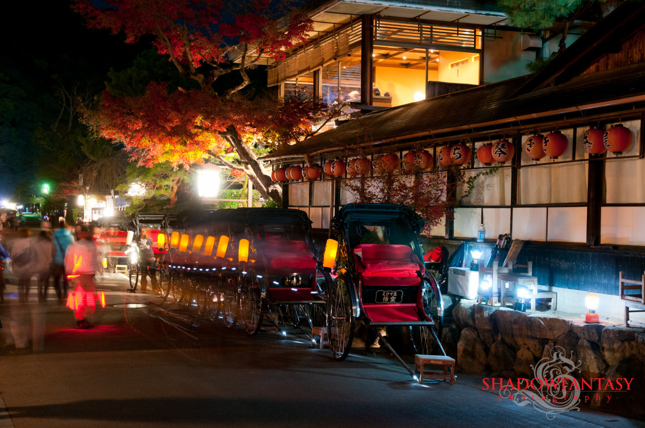 Rikshaws waiting for clients in Arashiyama in Kyoto, Japan.