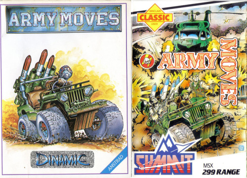 On the left, is the original Amstrad cover for Army Moves, drawn by Alfonso Azpiri. Really nice work, but when Summit published the MSX port, they hired an artist to copy Azpiri's drawing, and had him/her make it more exciting/realistic, apparently.